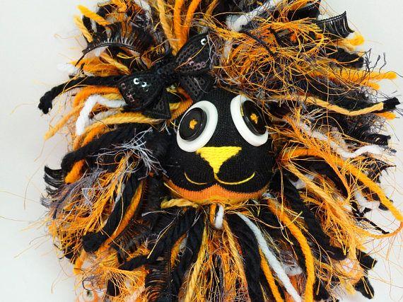 Skullie Lion Handmade Plush Sock Lion Toy 15 in tall Skull