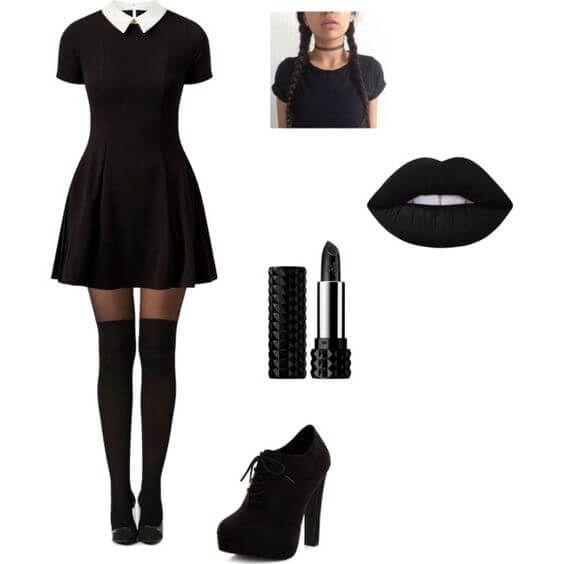 Wednesday Addams Halloween Kostüm, schwarzes MakeUp