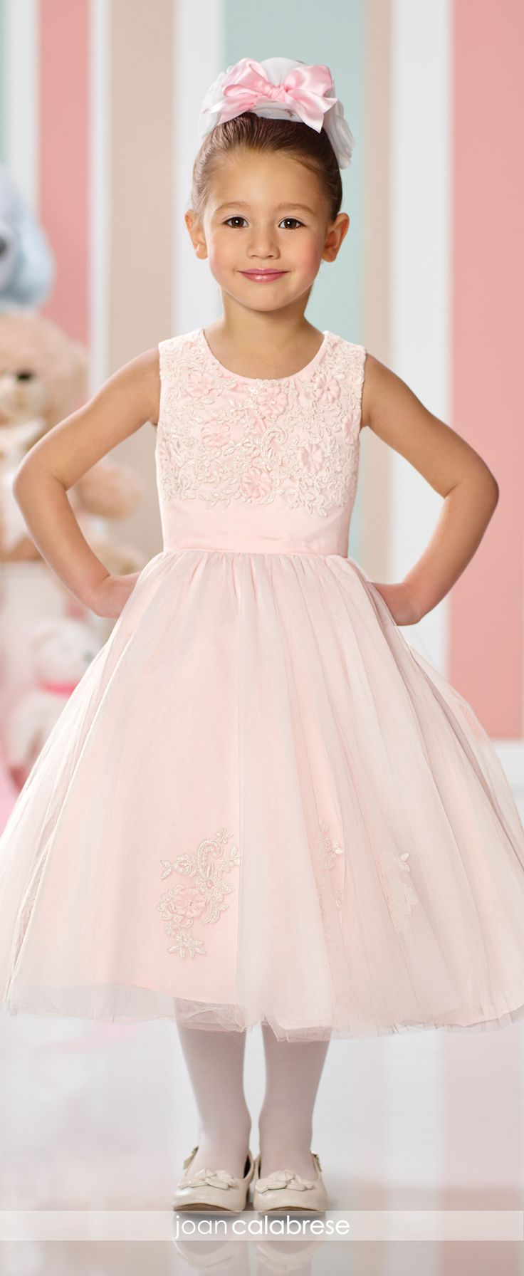 Joan Calabrese for Mon Cheri - Fall 2016 - Style No. 216323 - light pink flower girl dress in satin and tulle with lace appliqués and pressed flowers