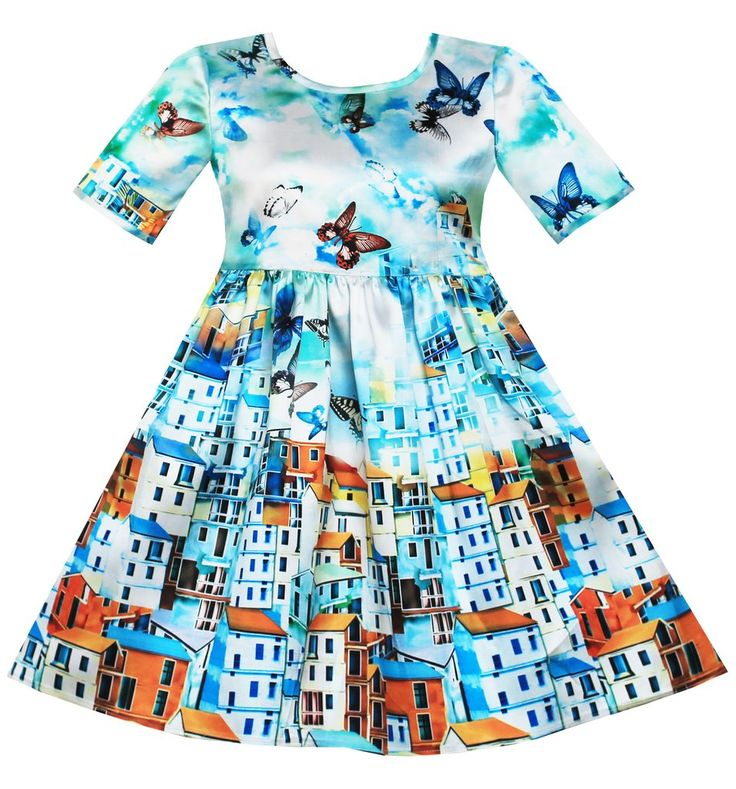 Girls Dress Satin Blue Sky Butterfly City Building Print Size 4-10 Years