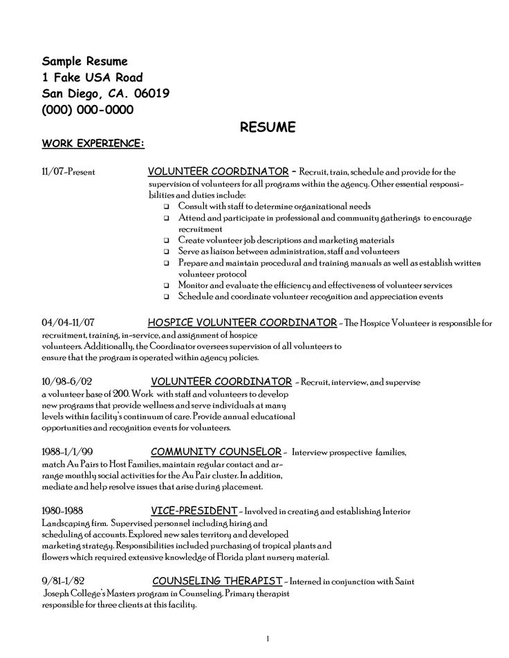 volunteer work resume