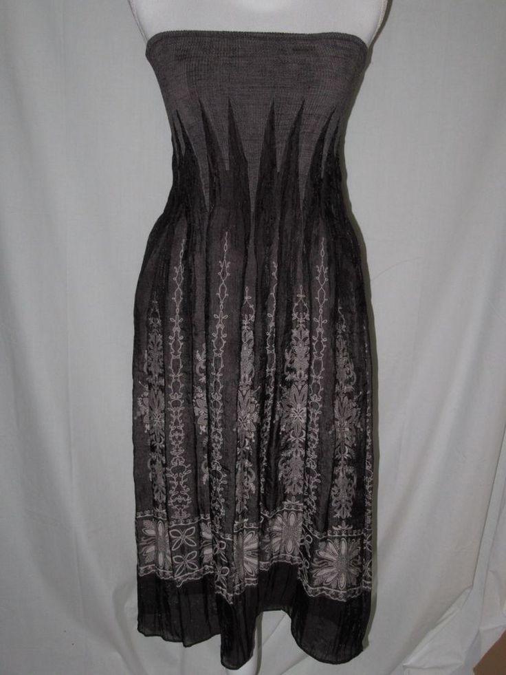 Lapis Convertible Dress Skirt One Size Fits All Black White Strapless Floral  #Lapis #Sundress #CasualSummerBeach