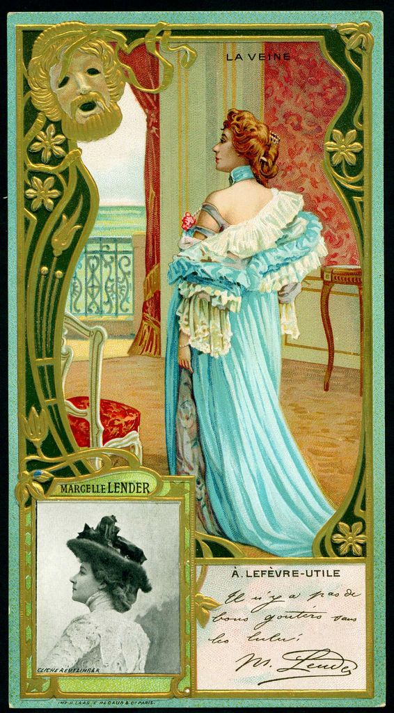 "Lefevre-Utile biscuits, c1905. Superb embossed card from their ""Celebrities"" series. Marcelle Lender, French singer, dancer and entertainer 1862-1926. Appeared in famous paintings by Henri de Toulouse-Lautrec."