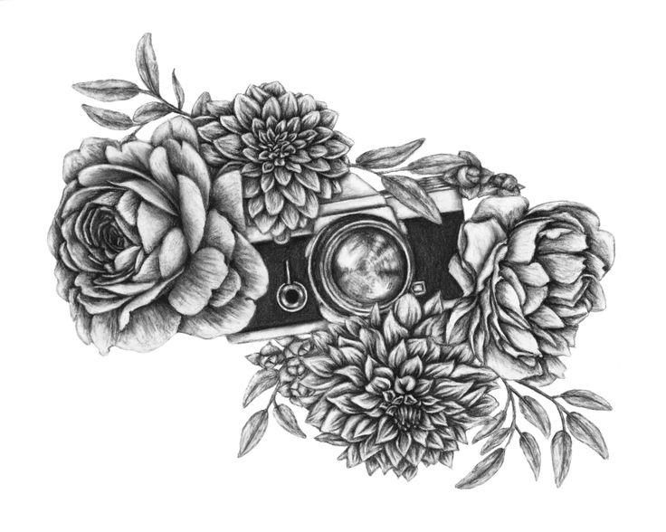 Digital File Floral Camera Tattoo Design Original Artwork Vintage Camera Design #art #vintage #forsale #homedecor #giftsforher