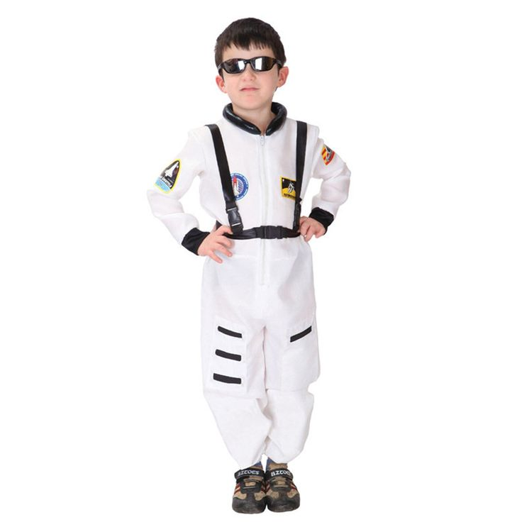 Discoball® Child Kids Astronaut Costume Spaceman Fancy Dress Outfit Uniform Halloween Cosplay Costume Spacesuit(White,M 7-8years)