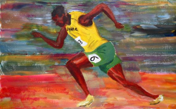 Usain Bolt Original Acrylic Painting Fastest by JulianLovegroveArt, £60.00