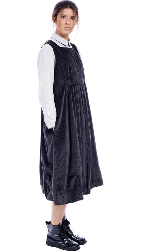 "</span></p> <p style=""line-height: 11.85pt;""><span style=""font-family: arial, helvetica, sans-serif; font-size: 8pt; color: #000000;"">Sleeveless balloon shaped dress , right below the knee, in printed micro Pied de Poule dark rose brown velvet.</span></p> <p style=""line-height: 11.85pt;""><span style=""font-family: arial, helvetica, sans-serif; font-size: 8pt; color: #000000;&..."