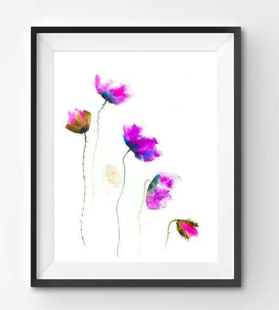 Purple Pink Poppies flowers watercolor print flowers floral