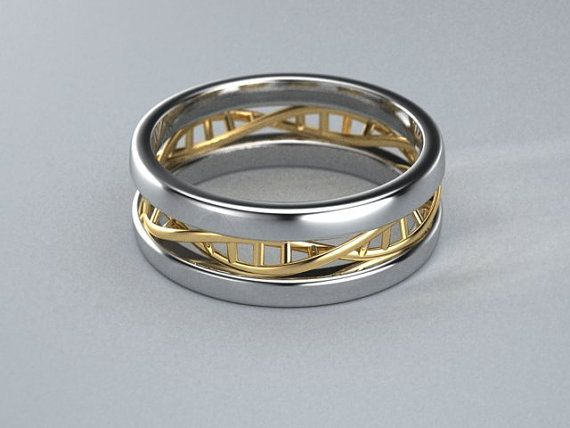 Sterling silver and 14k yellow gold DNA ring by ZandersCreations, $450.00