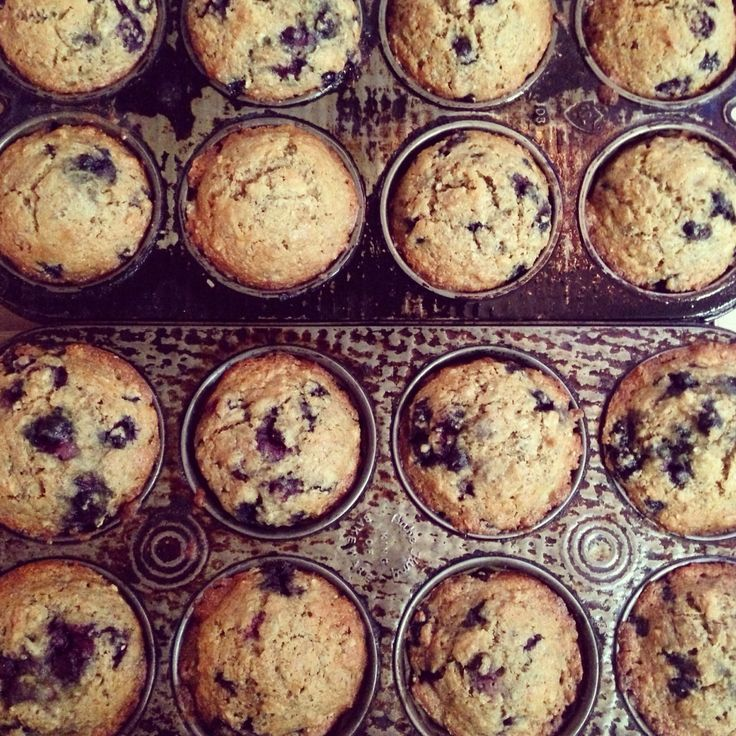 Blueberry & Banana muffins in antique muffin tins.