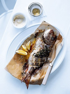 Whole Baked Fish with lemon salt and aioli