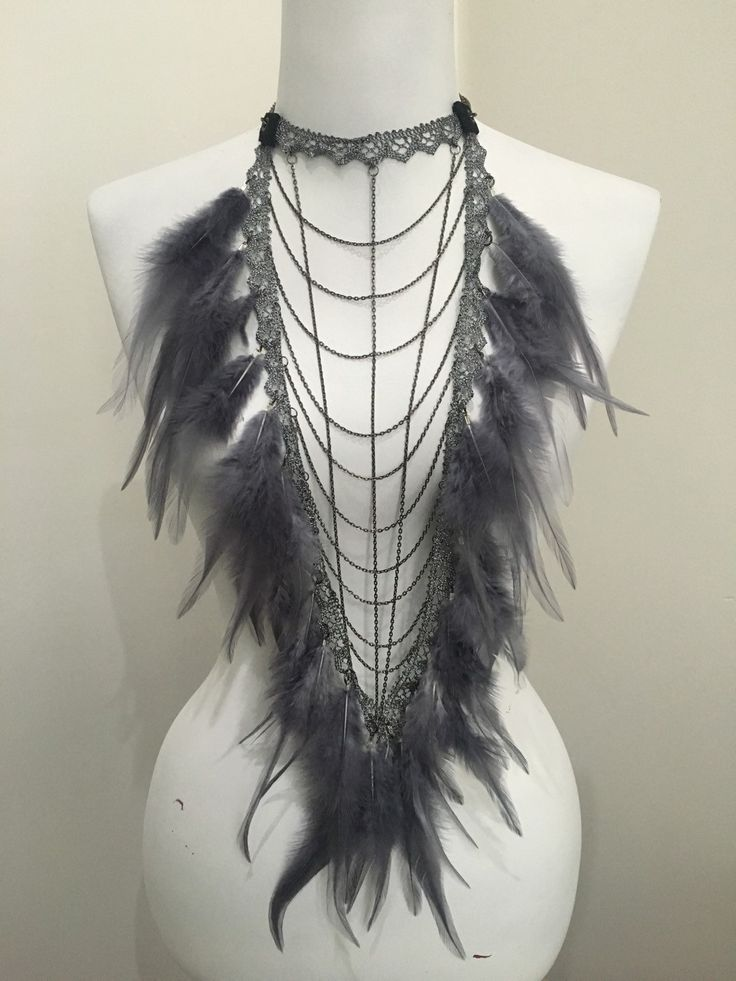 Breastplate bib statement necklace with lace chains & by LoveKhaos