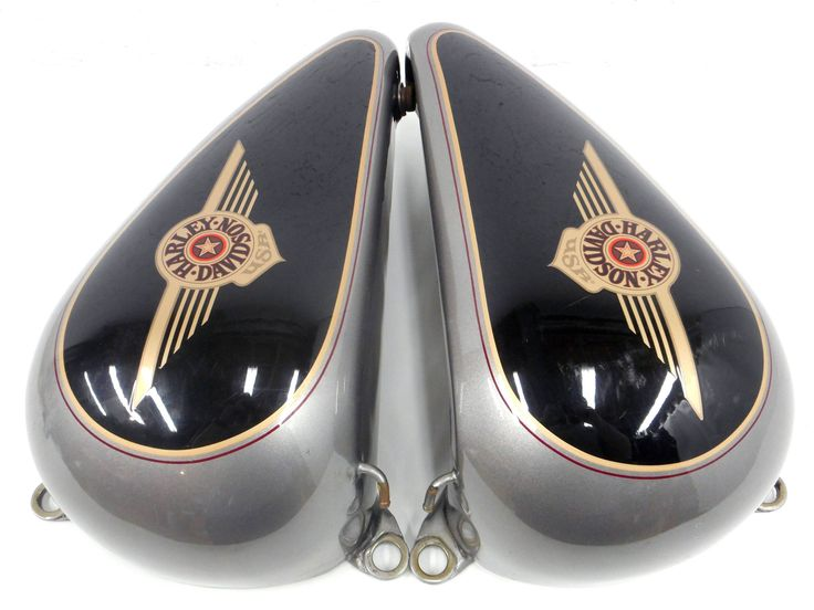 Pair of 1995-1996 Harley Davidson Motorcycle Split Gas Tanks, 96 FLSTF Black and Silver, Matching Serials, Left & Right
