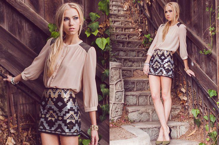 Aztec Sequin Skirt