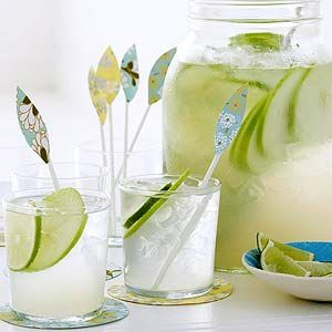 Apple Lime Coolers:  In a large pitcher, mix 3/4 cup lime juice (6 limes); simple syrup (recipe, below); 1-1/2 rum; 1 to 2 green apples, cored and thinly sliced; and 1 to 2 limes, thinly sliced. Add ice. Stir. Serve in drinking glasses topped off with chilled club soda. Serves 8. Simple Syrup: Bring 2 cups water and 2 cups sugar to a boil. Reduce heat, simmer 5 minutes, and let cool. Makes about 3 cups.
