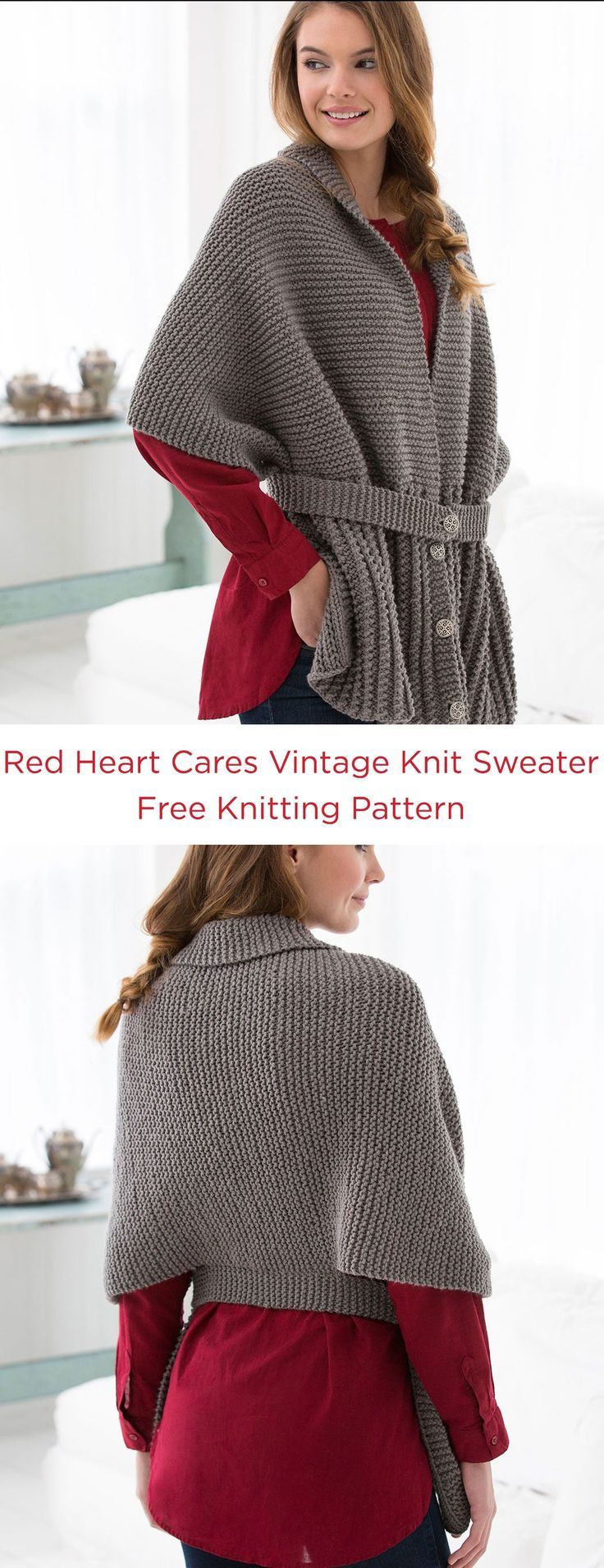 """Red Heart Cares Vintage Knit Sweater Free Knitting PAttern in Red Heart Yarns -- This modern knit wrap was actually inspired by a """"sweater-scarf"""" from 1917, in the early years that women supported the troops by working with the Red Cross. This easy to wear style is perfect for being active or relaxing."""