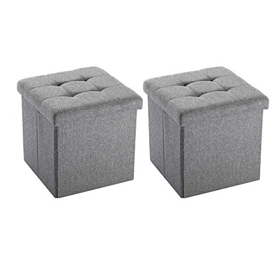 Nb Liner Square Storage Ottoman Small Cube Footrest Stool Seat