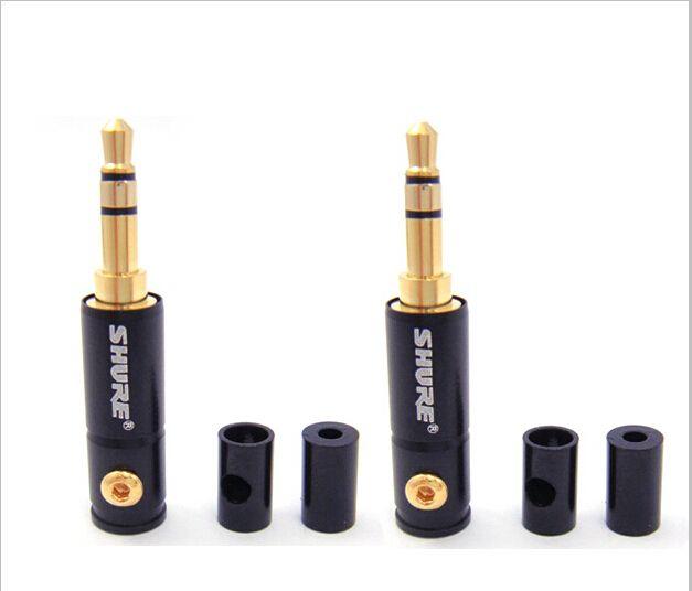 10 unids envío libre 3.5mm de 3 polos conector chapado en oro conector Estéreo para Shure envío gratis