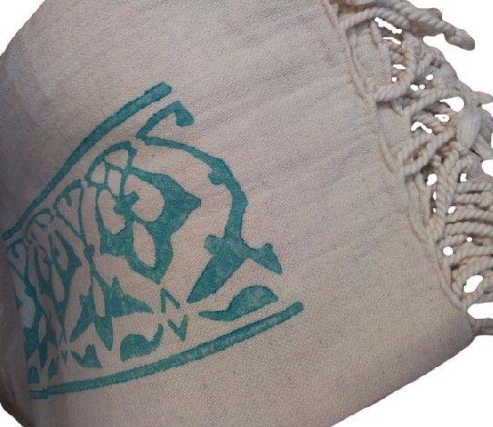Hamam - doek - stone print turquoise