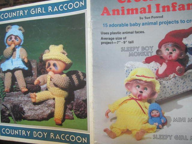 See Sally Sew-Patterns For Less - Crocheted Animal Infants Doll Plaid Enterprises Vintage Crochet Book