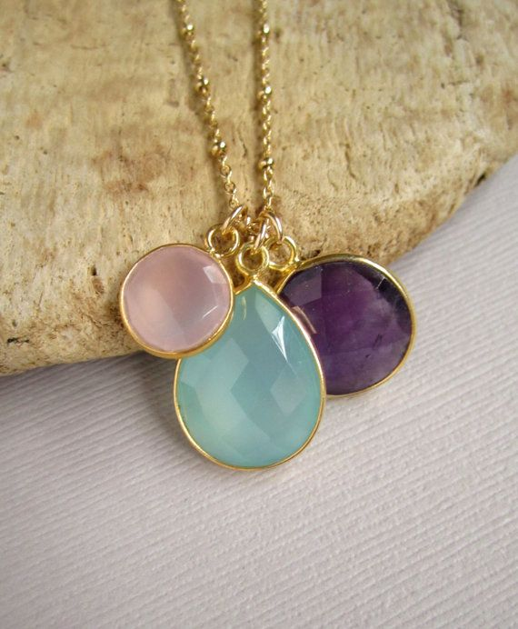Triple Gemstone Charm Necklace 24K Gold Vermeil by julianneblumlo, $118.00