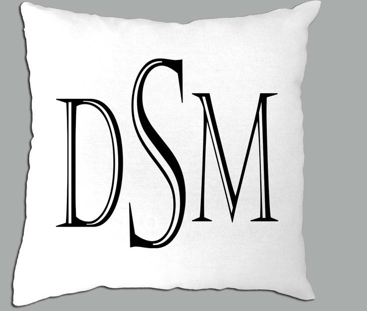 Black and White Initials Castellar Font  White Pillow Cover or you can choose another font color by PillowRiot on Etsy