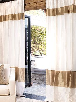silk banded drapery with cassette pleat - Silk Drapes