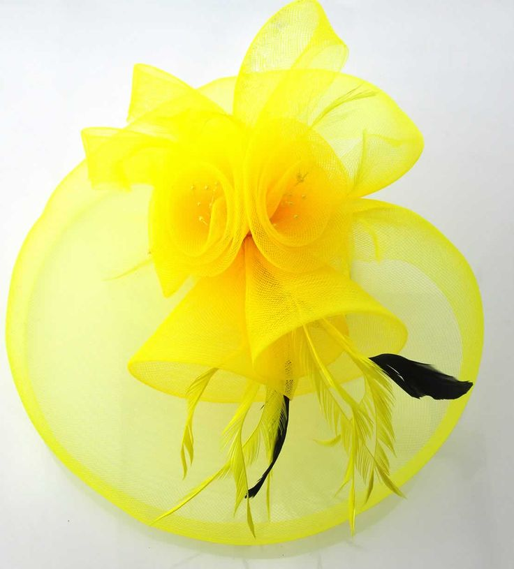 Yellow fascinator - paired with royal blue, black, fuchsia - perfect