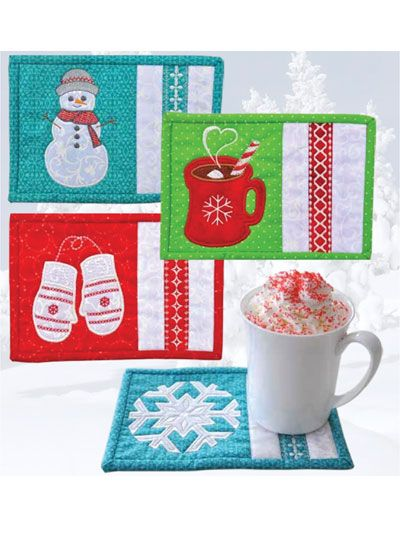 Winter mug rugs to help you celebrate the season!   Keep warm all winter long with a steamy cup of hot cocoa and these adorable mugs rugs! Each of these 4 fun in-the-hoop embroidery mug rugs is ideal for getting into the spirit of winter. The designs depict scenes that will warm your heart, like a friendly snowman and mittens. The pattern includes photo instructions on a CD for the embroidery, binding and general stitching of each mug rug. There are even bonus applique designs that you can…