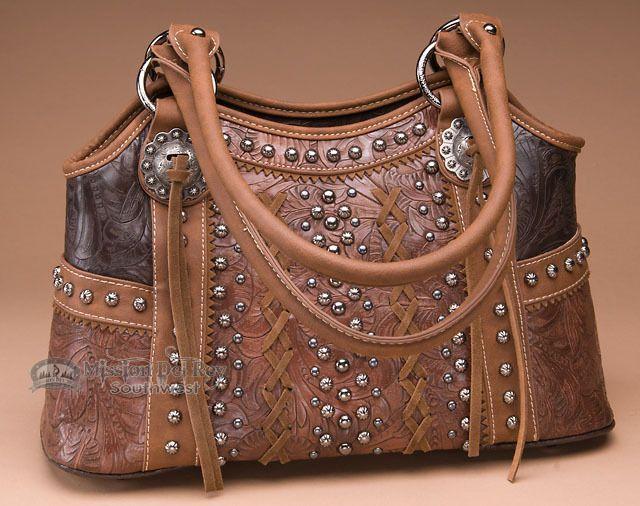Designer Western Style Purse -Brown - Mission Del Rey Southwest