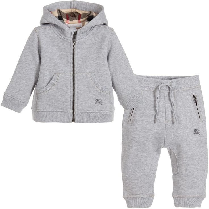 Burberry Baby Boys Grey Tracksuit with Classic Check at Childrensalon.com