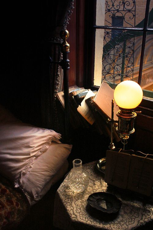 ".With how eclectic I am... this is just simply ""perfect"". The bed frame adds it touch with the maze of red brick and stone out of the window. The lamp. The table... right up my alley."