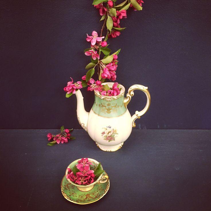 Teacups and blossom. #teacups #blossom #flowers #vintage #oldchina #dark #blue #vanasch