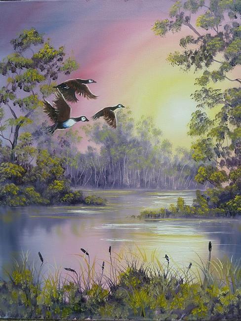 Art: CLS038 Sundown Geese Wilson Bickford by Artist Marion Dutton