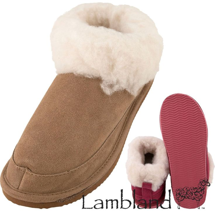 Lambland Ladies Sheepskin Suede Bootie Slippers With Light Weight Sole