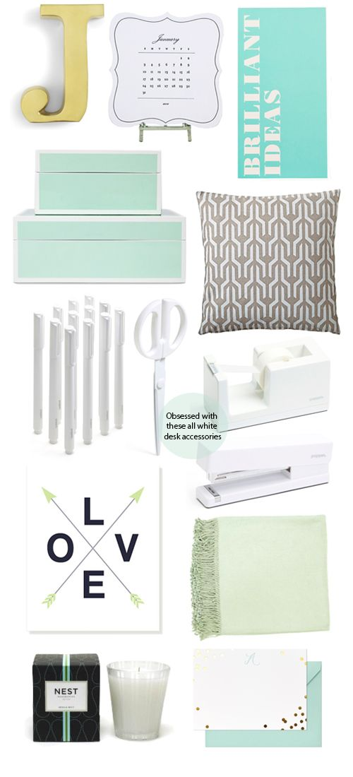 office accessories in mint & white
