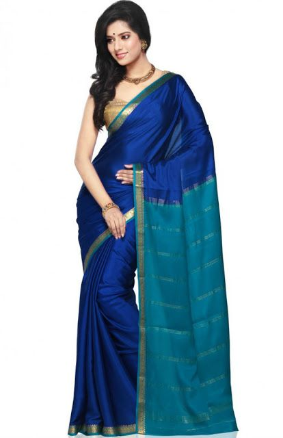 Saree Market: Pure Mysore Silk Saree Blue Colour