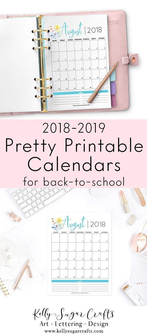 2018 2019 monthly calendar vertical floral pinterest pretty calendars for back to school printable instant download august 2018 to july fandeluxe Gallery