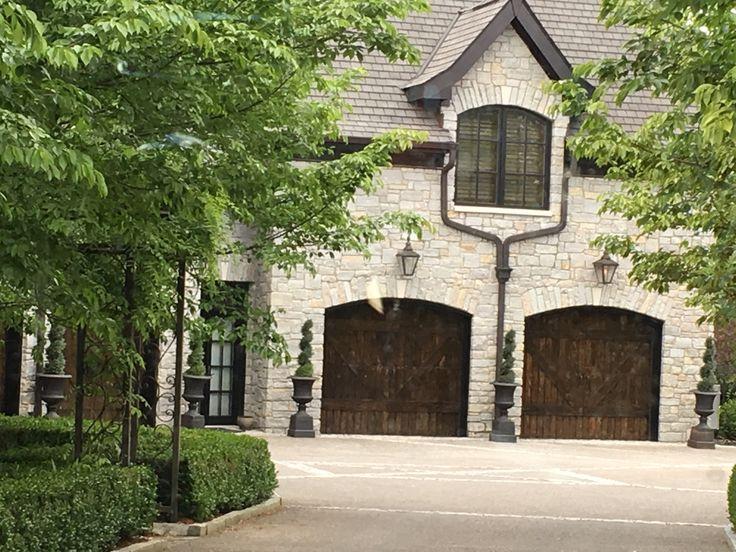 Light Stone With Dark Wooden Garage Doors And Trim In 2019