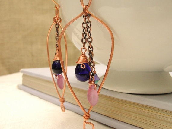 Copper Wire  Earrings Free Form w/Chain by KartisimDesign on Etsy, $35.00