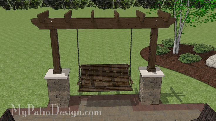 5 ft. Patio Swing with Cedar Pergola | Create the Perfect Place to Relax on Your Patio | Download Plans at MyPatioDesign.com