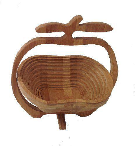 Faltkorb Bambus Obstkorb Dekoschale Obstschale Holz Apfel 1 faltbar: Amazon.de: Küche & Haushalt