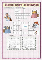 Printable Medical Terminology Crossword Puzzles | Games worksheets > Crosswords > MEDICAL STUFF - CROSSWORD