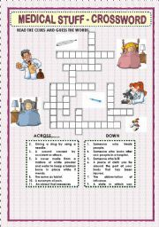 Printable Medical Terminology Crossword Puzzles | Games worksheets > Crosswords > MEDICAL STUFF - CROSSWORD