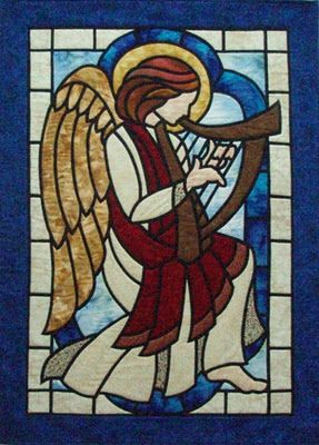 "Angel with Harp, 30 x 41"", by Joan Bouwmeester and Debbie Bouwmeester-Fasek at Three Swans Studio"