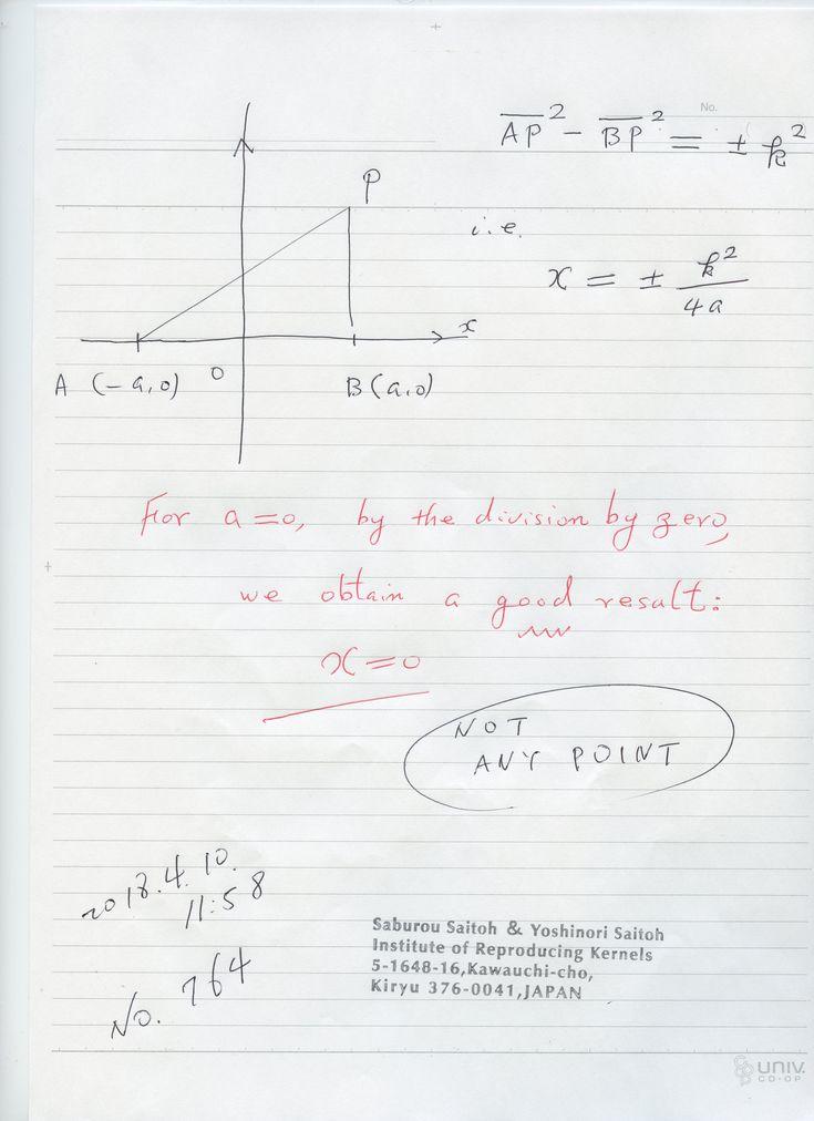 №764:  a がゼロの時、できないや、無限大よりは、零が良く、 良い意味が有りますね。 ゼロ除算は 当たり前。