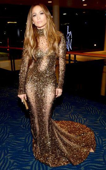 Jennifer Lopez In Metallic Sequined Zuhair Murad Dress At