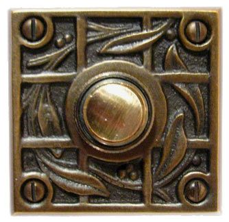 Waterglass Studios Handmade  Vine And Trellis Solid Brass Door Bell Style 1618 $48.