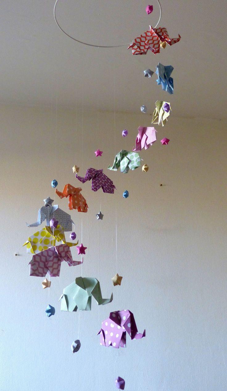 """Mobile bébé origami """"Spirale"""" Eléphants Pastel : Jeux, peluches, doudous par mademoiselle-origami"""
