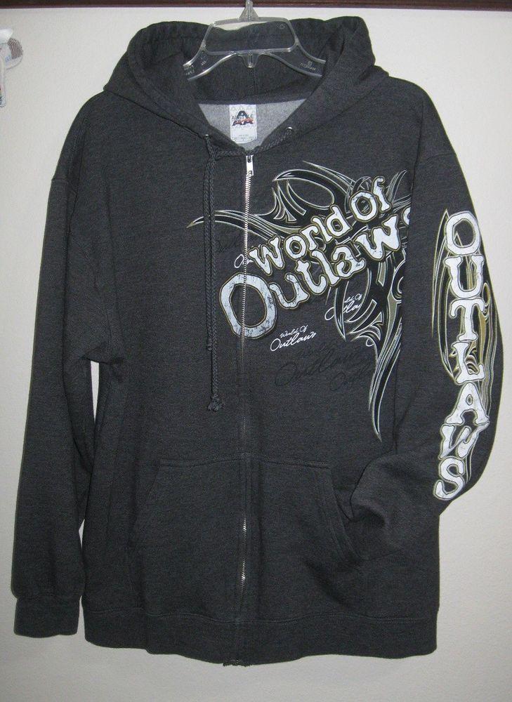 Sweatshirt hooded Men's L World of Outlaws racing gray Full